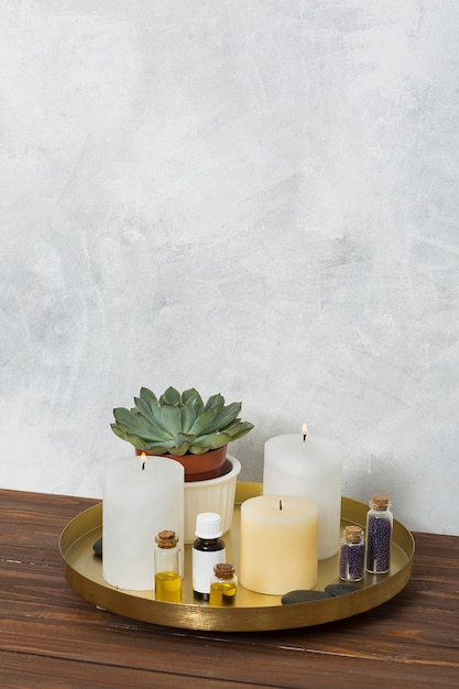 Lighted candle; cactus plant; mustard seed; la stone and essential oil on copper plate over the wooden desk Free Photo