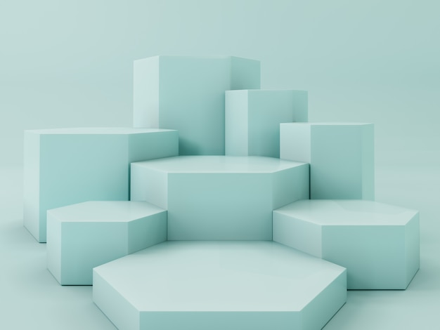 Lightgreen product display podium, abstract  background Premium Photo