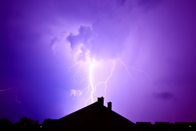 Lightning hit the house. Free Photo