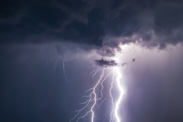 Lightnings and thunder bold strike at summer storm Premium Photo