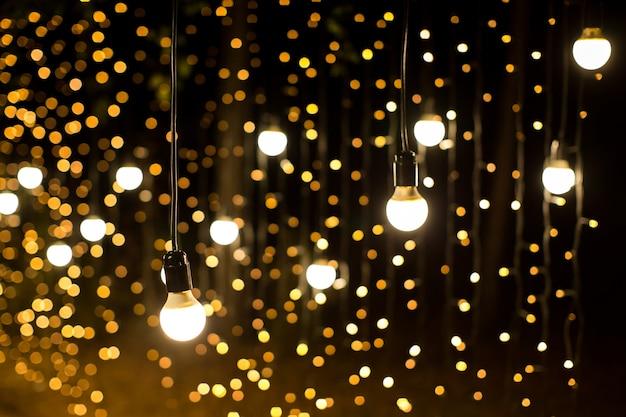 밤에 조명과 등불. 보케 프리미엄 사진
