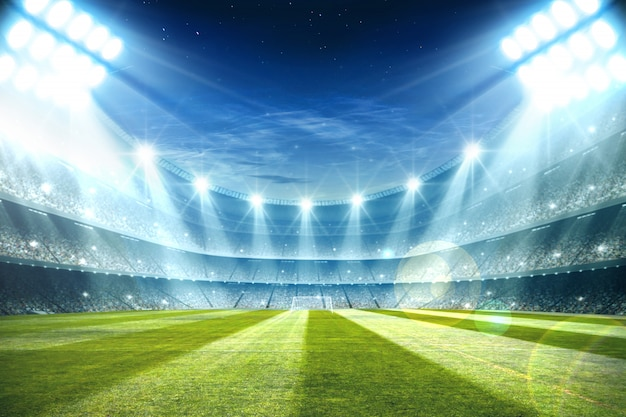 Огни ночью и футбольный стадион 3d-рендеринга Premium Фотографии