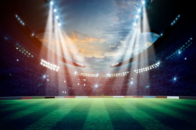 Огни в ночное время и стадион. смешанная среда Premium Фотографии
