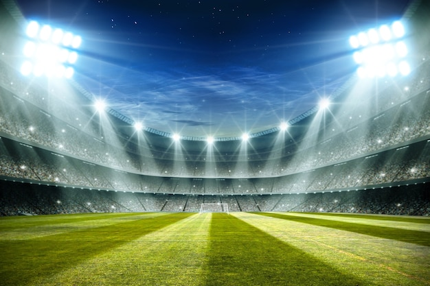 Lights at night and football stadium 3d rendering Premium Photo