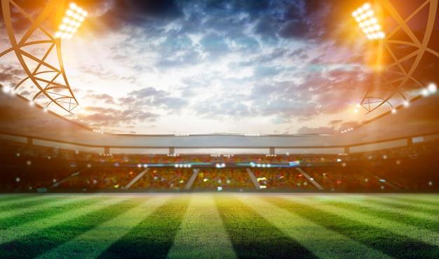 Lights at night and football stadium 3d Premium Photo