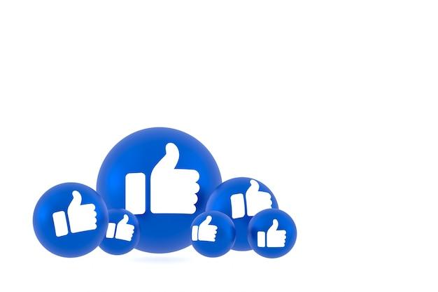 Как значок facebook реакции смайликов рендеринга, символ шара в социальных сетях на белом фоне Premium Фотографии