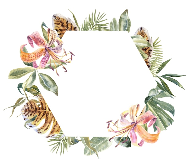 Lili flowers and tropical leaves frame. exotic floral wreath Premium Photo