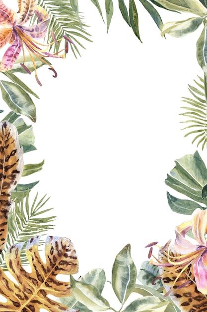 Lili flowersアニマルスキンプリント、トロピカルリーフフレーム。虎柄花ボーダー Premium写真