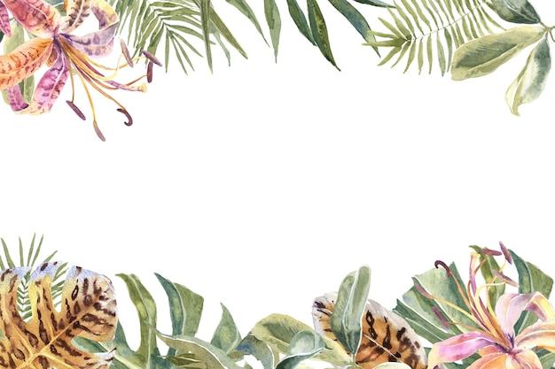 Lili flowersアニマルスキンプリント、トロピカルリーフフレーム。エキゾチックな花柄ボーダー Premium写真