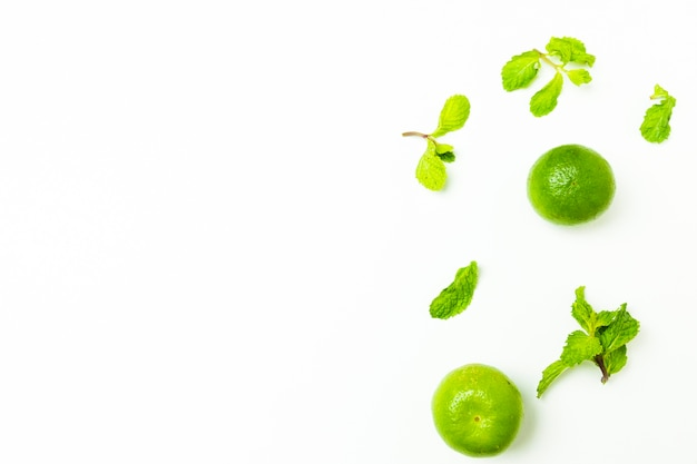 Lime and mint leaves on isolated background Free Photo