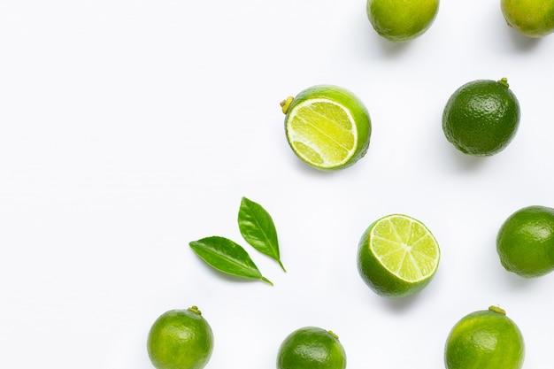 Limes isolated on white background. Premium Photo