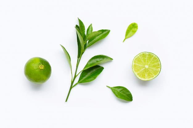 Limes with leaves isolated on white background. Premium Photo