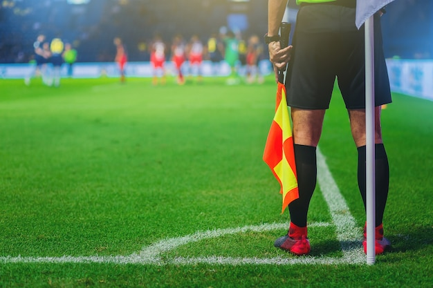 Lineman assistant referee at the corner of a soccer field Premium Photo