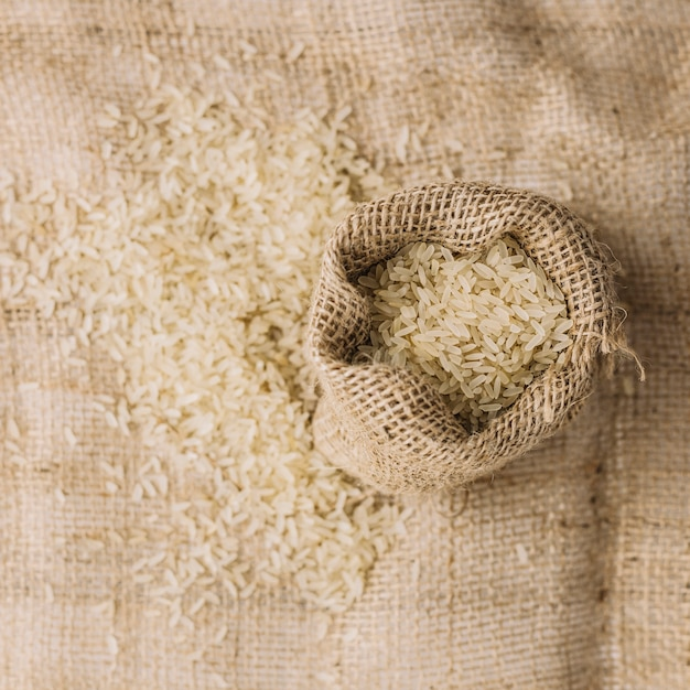 Linen bag with rice Free Photo