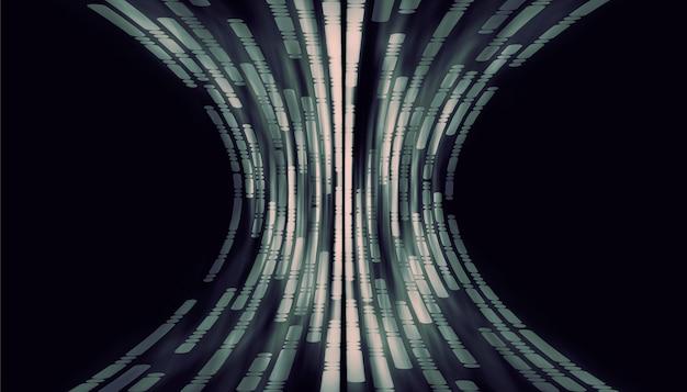 線と曲線の点黒い背景にハイテクデジタル技術の概念抽象的な未来的な線の背景 Premium写真