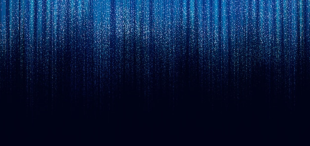 黒い背景に線と光が落ちるきらめく青い線がきらめく Premium写真