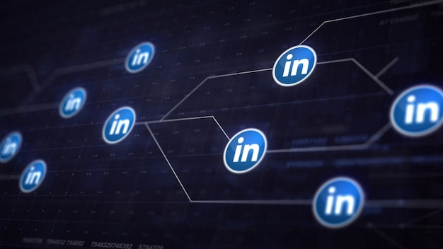 Linkedin icon line connection of circuit board Free Photo