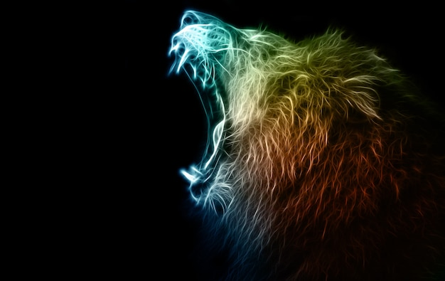Lion digital illustration and manipulation Premium Photo