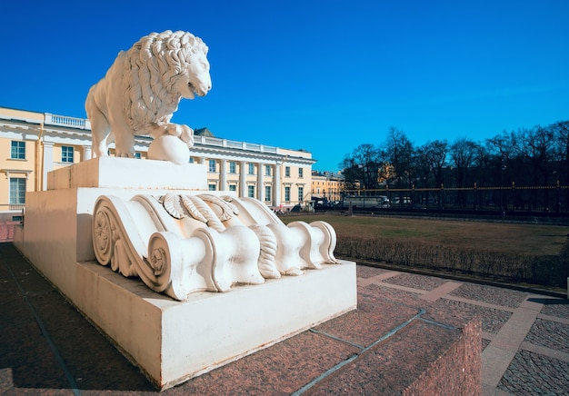 Lion sculpture in front of the russian museum. saint-petersburg Premium Photo