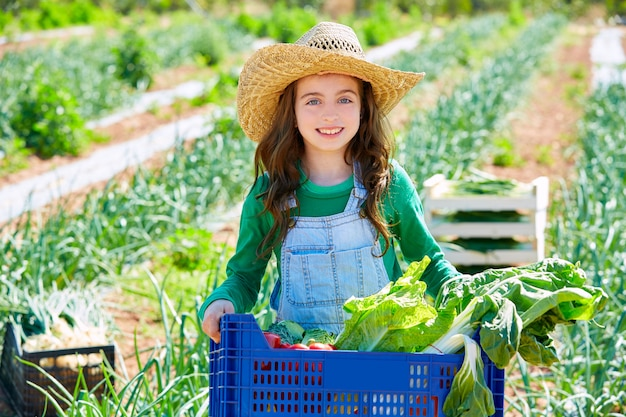 Litte kid farmer girl in vegetables harvest Premium Photo