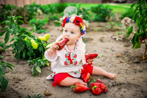 Little baby-girl with a large red pepper sits on the back-yard Free Photo
