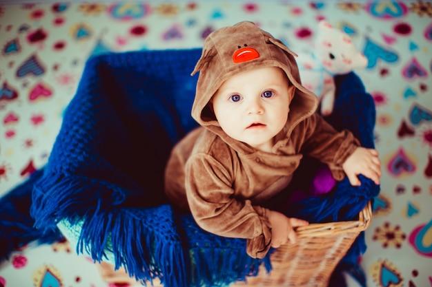 小さな赤ちゃんは籐のバスケットに座っています。 無料写真