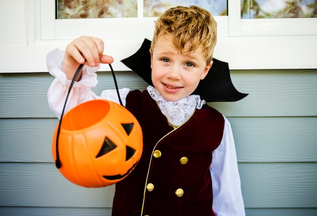 Little boy dressed up for halloween Premium Photo