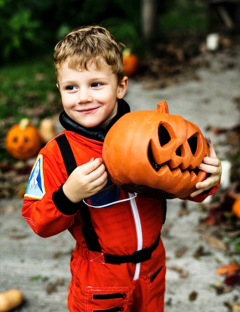 Little boy dressed up for halloween Free Photo
