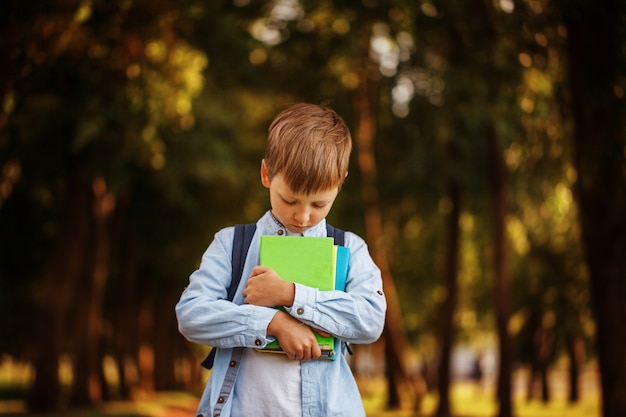 Little boy going back to school. child with backpack and books. Premium Photo