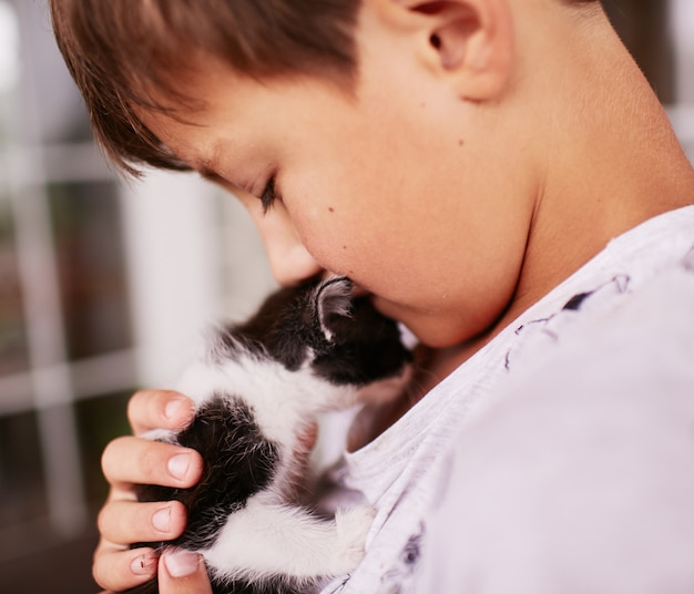 Little boy holds black and white kitty on his shoulder Free Photo