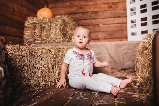 장식 된 스튜디오에서 건초 더미에 앉아 수 놓은 셔츠에 작은 소년. 추수 감사절. 프리미엄 사진