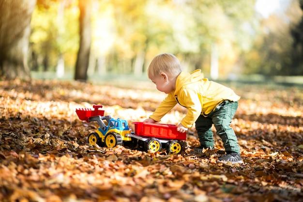 Little boy in autumn park Free Photo