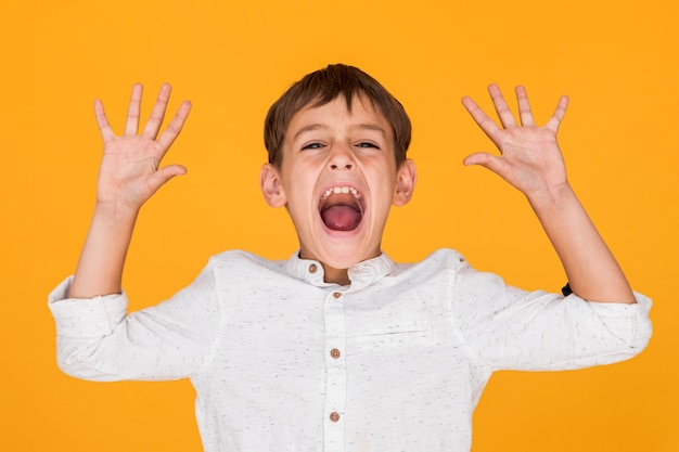 Little boy screaming with his arms up Free Photo