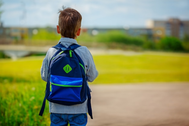 Little boy with a backpack go to school. back view Premium Photo