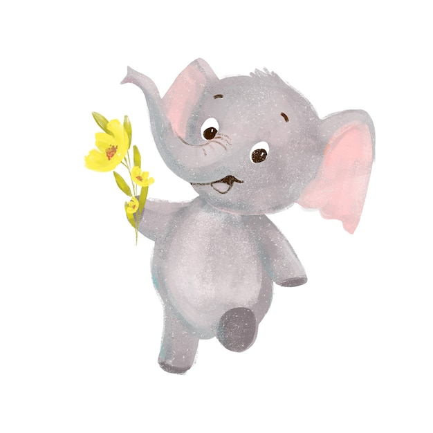 Little cute cartoon elephant with flowers Premium Photo