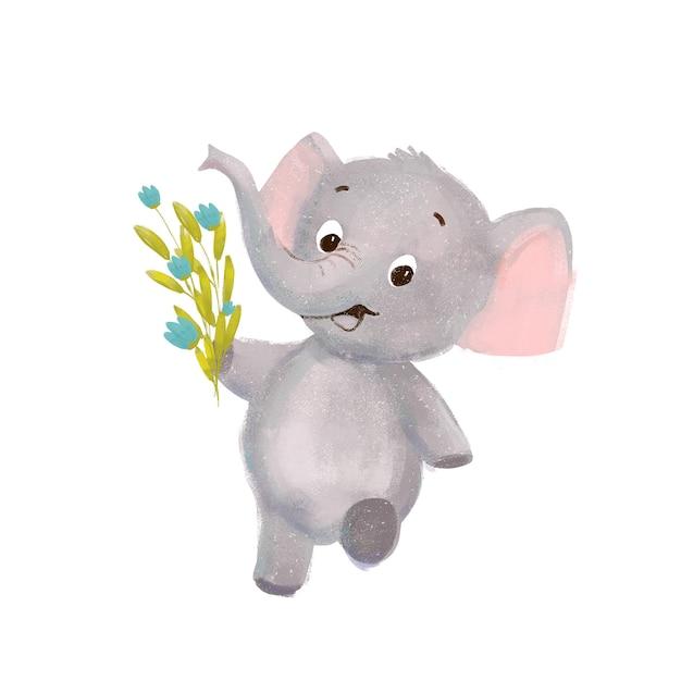 Little cute cartoon elephant with flowers Premium Photo