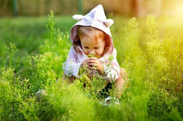 芝生のフィールドで遊ぶ小さなかわいい女の子 無料写真