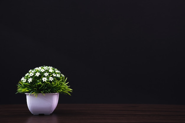 Little decorative tree and flower bouquet in white vase on wooden table dark room. Premium Photo