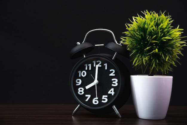 Little decorative tree with vintage alarm clock on wood Premium Photo