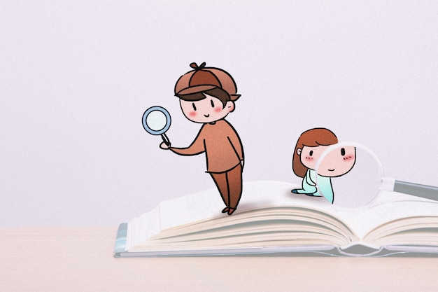 Little detective: creative photography illustration mixed Premium Photo
