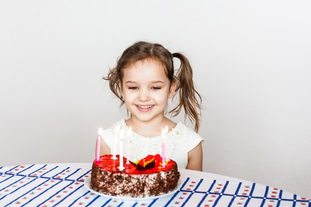 Surprising Little Girl And Birthday Cake Blows Out Candles Makes A Wish Funny Birthday Cards Online Elaedamsfinfo