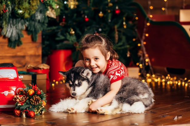 Little girl hugging a husky puppy next to a christmas tree Premium Photo
