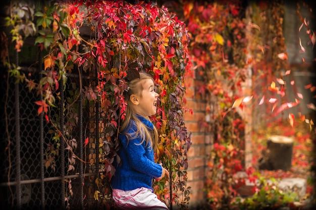 秋の屋外の小さな女の子 無料写真