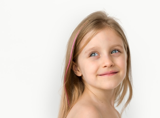 Little Girl Smiling Happiness Bare Chest Topless Studio Portrait Photo  Premium Download-6240