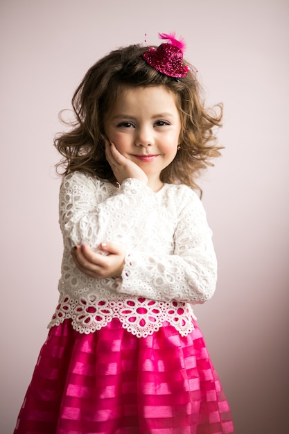 Little girl in studio Free Photo