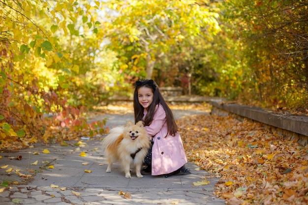Маленькая девочка с собакой осенью в парке на прогулке Premium Фотографии