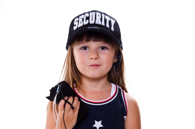 Little girl with security hat Premium Photo