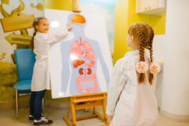 人間の臓器のポスターで制服を着て遊ぶ医師の女の子 Premium写真