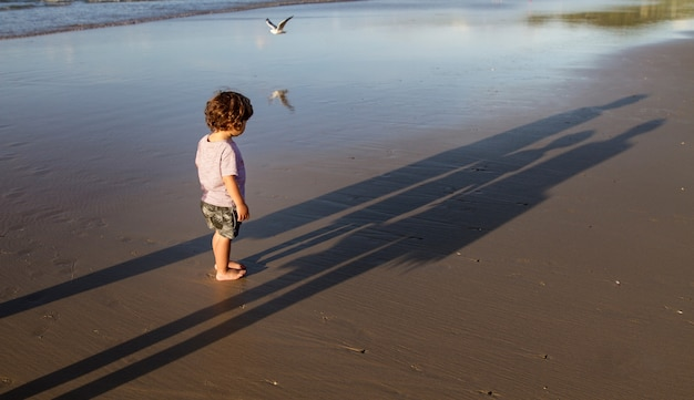 A little hairy boy standing on sand beach Premium Photo