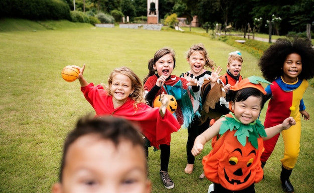 Little kids at a halloween party Free Photo